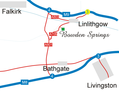 Location map showing major routes to Bowden Springs
